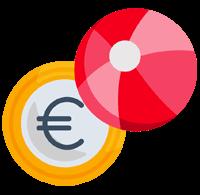 Icon einer Euro-Münze und eines Wasserballs zur bildlichen Untermalung der Vorteile der Stellenangebote im Unfallkrankenhaus Berlin (ukb)