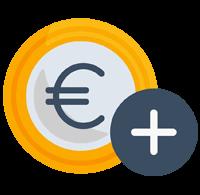 Icon einer Euro-Münze mit einem Plus-Symbol zur bildlichen Untermalung der Vorteile der Stellenangebote im Unfallkrankenhaus Berlin (ukb)
